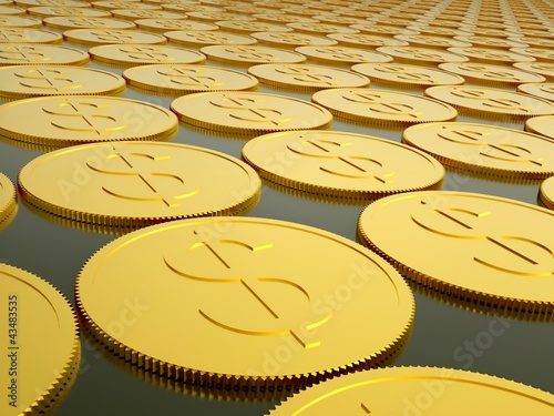 series of gold coins with dollar sign