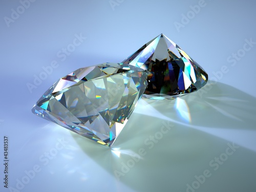 two gems with caustics placed on blue plane