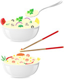 italian and asian rice with vegetables illustration