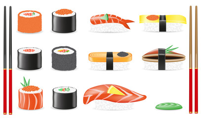 sushi set icons illustration