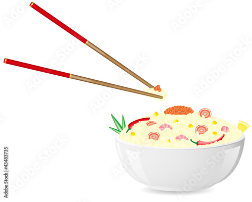 asian rice with seafood illustration