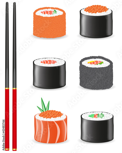 sushi set icons illustration