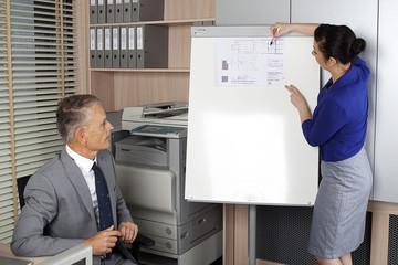 Businesswoman explains plans for the client
