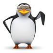 3d Penguin in aviators points downwards