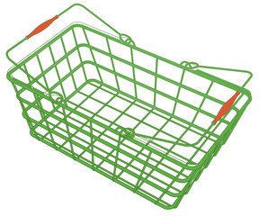 plastic green shopping hand basket vector