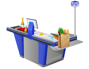 cash register terminal and food stuffs