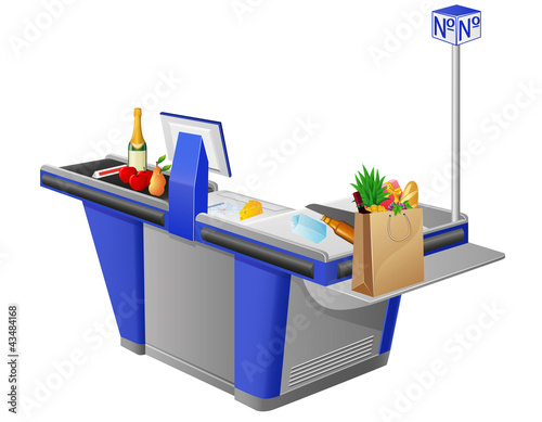 cash register terminal and food stuffs