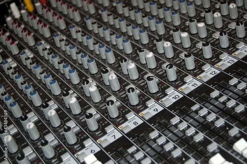 Sound mixer console in a recording studio