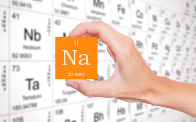 Sodium symbol handheld in front of the periodic table