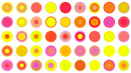 A mass of colorful concentric spots. Loops.