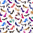Multicolored female shoes background-2