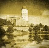 medieval Swedish castle in Vyborg. Imitation of old postcards