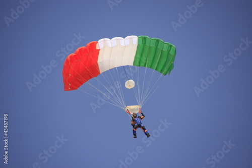 Skydiver againt blue sky - 43487198