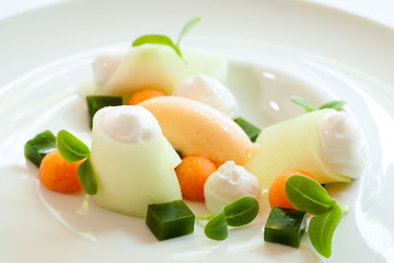 melon dessert with multiple textures.