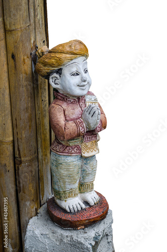 Thai Children doll On white.