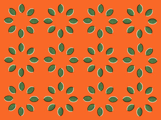 Optical illusion with circles made from green leaves