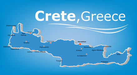 Crete island map, Greece