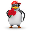 3d Penguin in baseball hat with flowers