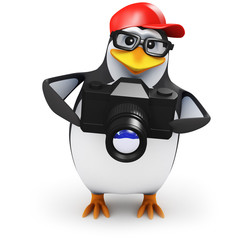 3d Penguin in baseball hat with SLR Camera