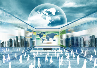 Virtual people doing business in internet