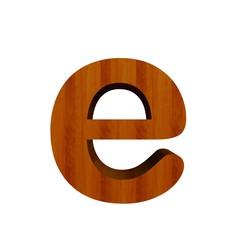 3d Font Wood Letter e