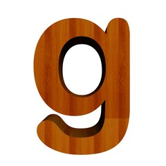 3d Font Wood Letter g