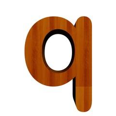3d Font Wood Letter q