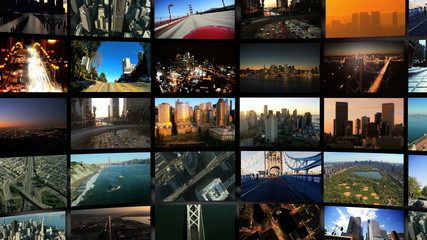 Montage of 3D digital images of cities in travel locations