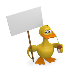 Funny duck with cocktail holding a blank sign