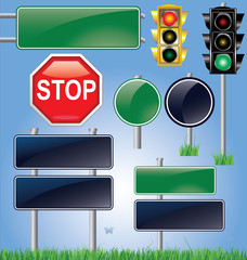 Vector empty road sign and traffic light set