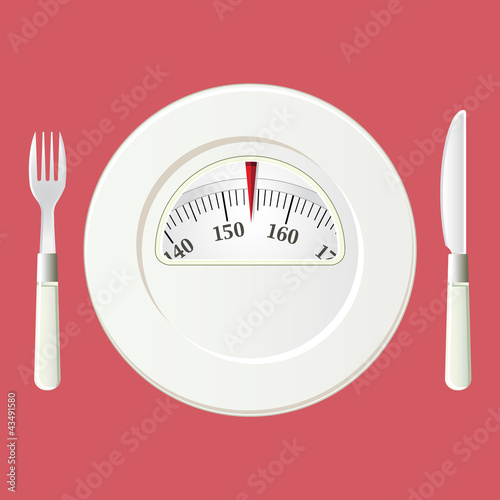 Plate with a weight balance scale. Diet concept