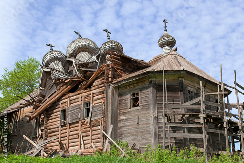 The old destroyed wooden church in Karelia