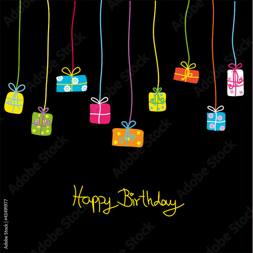 Template Birthday Greeting Card, vector