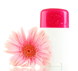 deodorant with flower isolated on white.