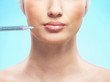 Portrait of a young woman on a botox injection procedure