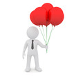 The white man is holding red balloons