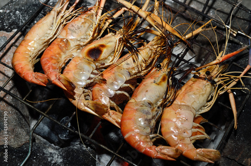 Delicious looking shrimp on the grill