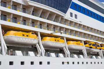 Different lifeboats on big cruise ship