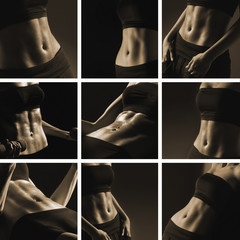 A collage of beautiful and trained female abs and arms