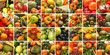 A huge collage of fresh and tasty fruit and vegetables