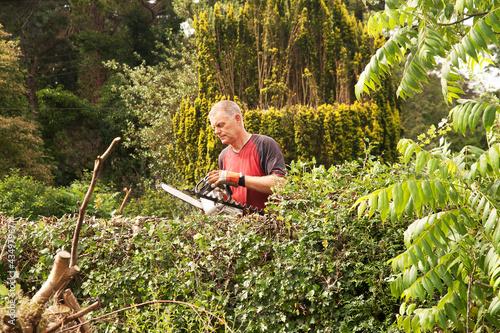 Man checking chainsaw