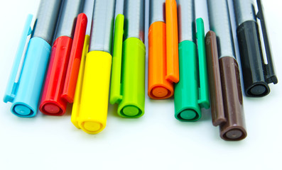 Pens on White Background