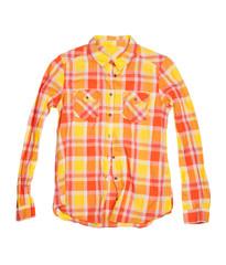 orange checkered shirt isolated on white background