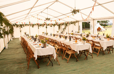 Event tent awaiting guests