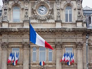 French tricolours adorn the Prefecture in Lille