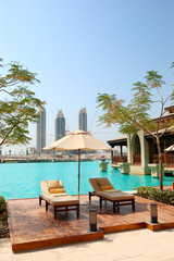 Recreation area at luxury hotel in Dubai downtown, UAE