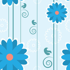 Blue seamless flower pattern with stems