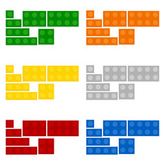 Construction plates with different colors over white