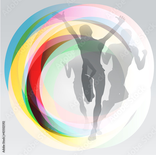 Free runners sport concept illustration