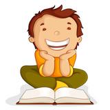 vector illustration of kid reading open book sitting on floor